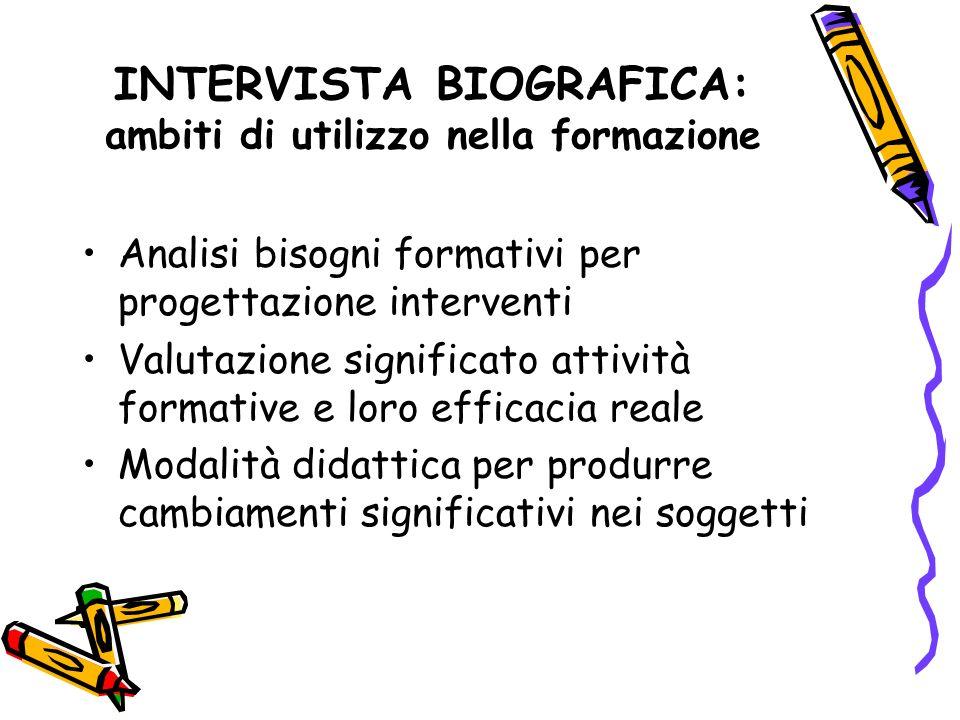 INTERVISTA BIOGRAFICA: ambiti di utilizzo nella formazione