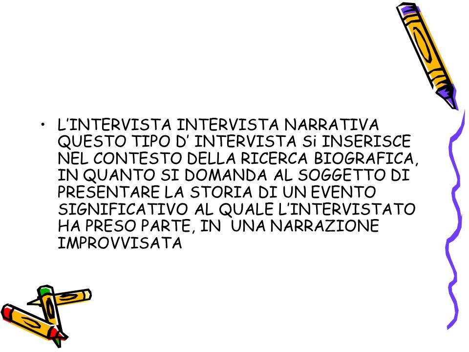 L'INTERVISTA INTERVISTA NARRATIVA QUESTO TIPO D' INTERVISTA Si INSERISCE NEL CONTESTO DELLA RICERCA BIOGRAFICA, IN QUANTO SI DOMANDA AL SOGGETTO DI PRESENTARE LA STORIA DI UN EVENTO SIGNIFICATIVO AL QUALE L'INTERVISTATO HA PRESO PARTE, IN UNA NARRAZIONE IMPROVVISATA