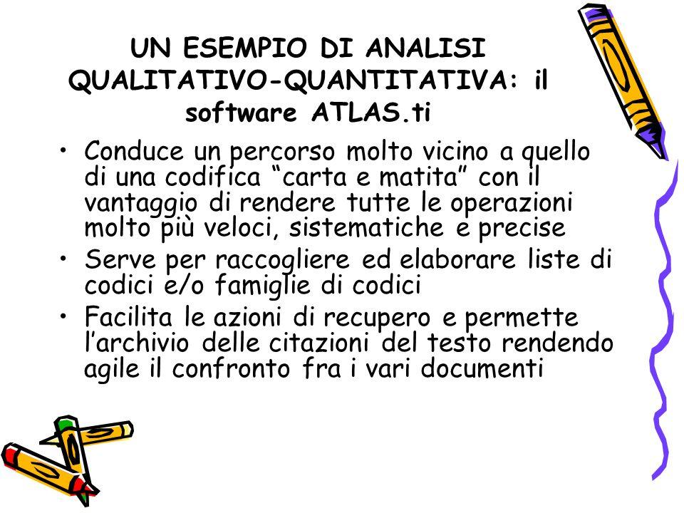 UN ESEMPIO DI ANALISI QUALITATIVO-QUANTITATIVA: il software ATLAS.ti