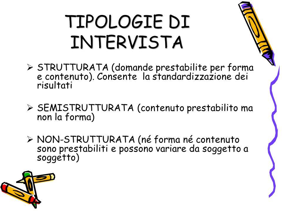 TIPOLOGIE DI INTERVISTA