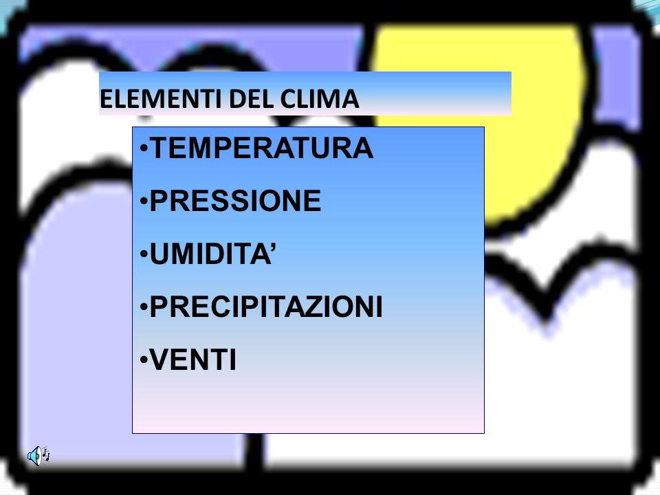 ELEMENTI DEL CLIMA TEMPERATURA PRESSIONE UMIDITA' PRECIPITAZIONI VENTI
