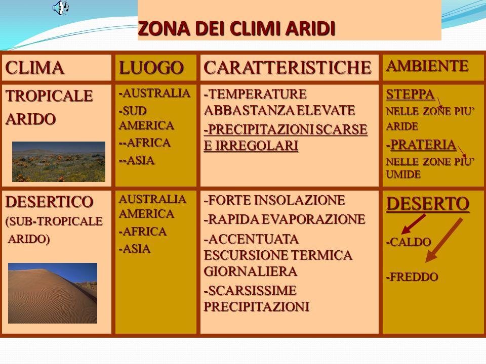 ZONA DEI CLIMI ARIDI CLIMA LUOGO CARATTERISTICHE DESERTO AMBIENTE