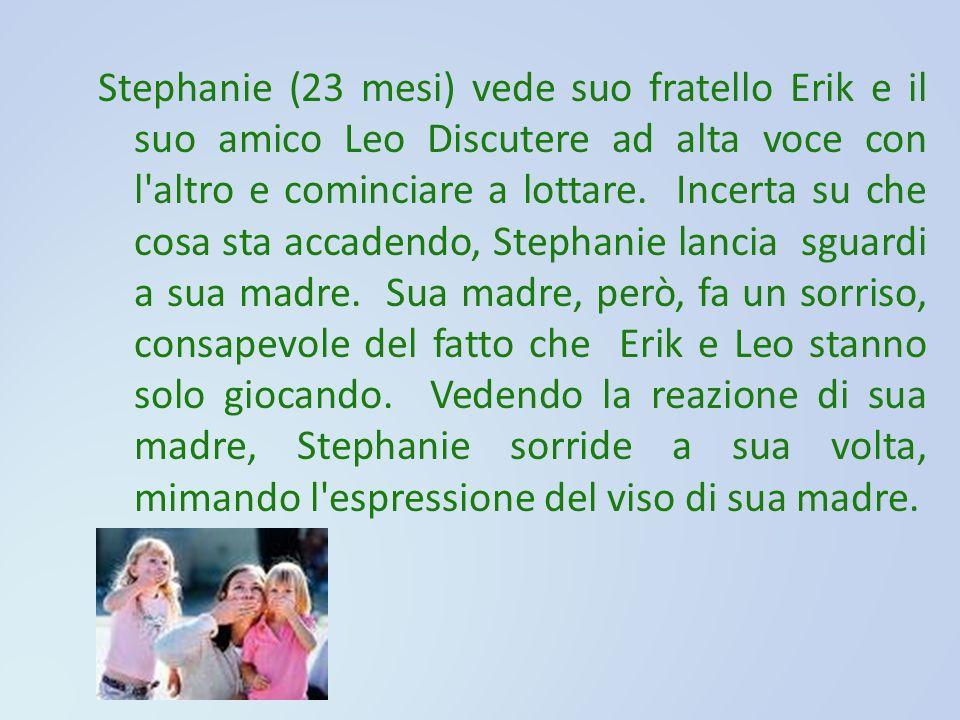 Stephanie (23 mesi) vede suo fratello Erik e il suo amico Leo Discutere ad alta voce con l altro e cominciare a lottare. Incerta su che cosa sta accadendo, Stephanie lancia sguardi a sua madre. Sua madre, però, fa un sorriso, consapevole del fatto che Erik e Leo stanno solo giocando. Vedendo la reazione di sua madre, Stephanie sorride a sua volta, mimando l espressione del viso di sua madre.