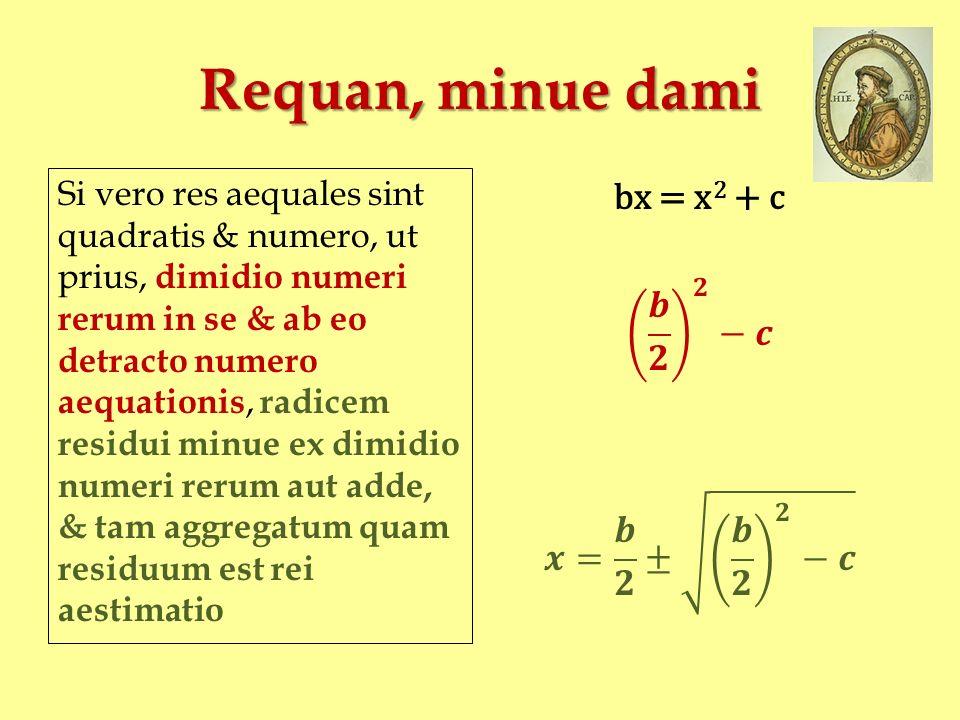 Requan, minue dami bx = x2 + c 𝒃 𝟐 𝟐 −𝒄 𝒙= 𝒃 𝟐 ± 𝒃 𝟐 𝟐 −𝒄
