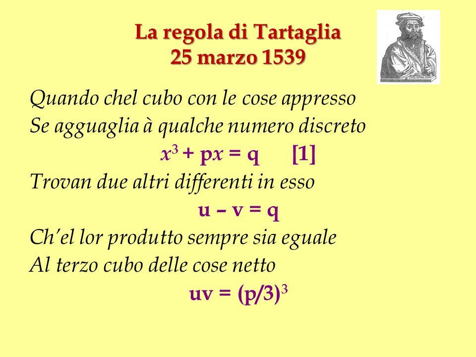 La regola di Tartaglia 25 marzo 1539