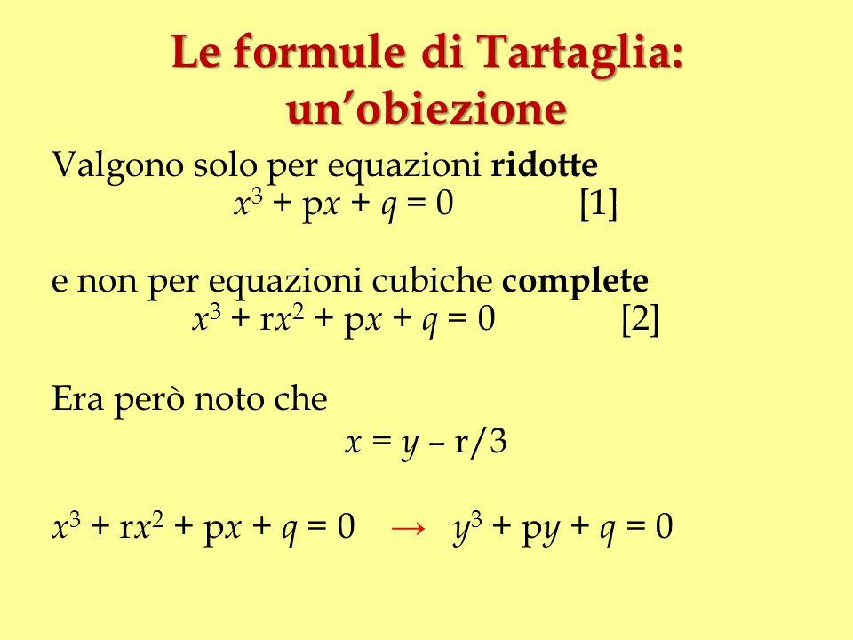 Le formule di Tartaglia: un'obiezione