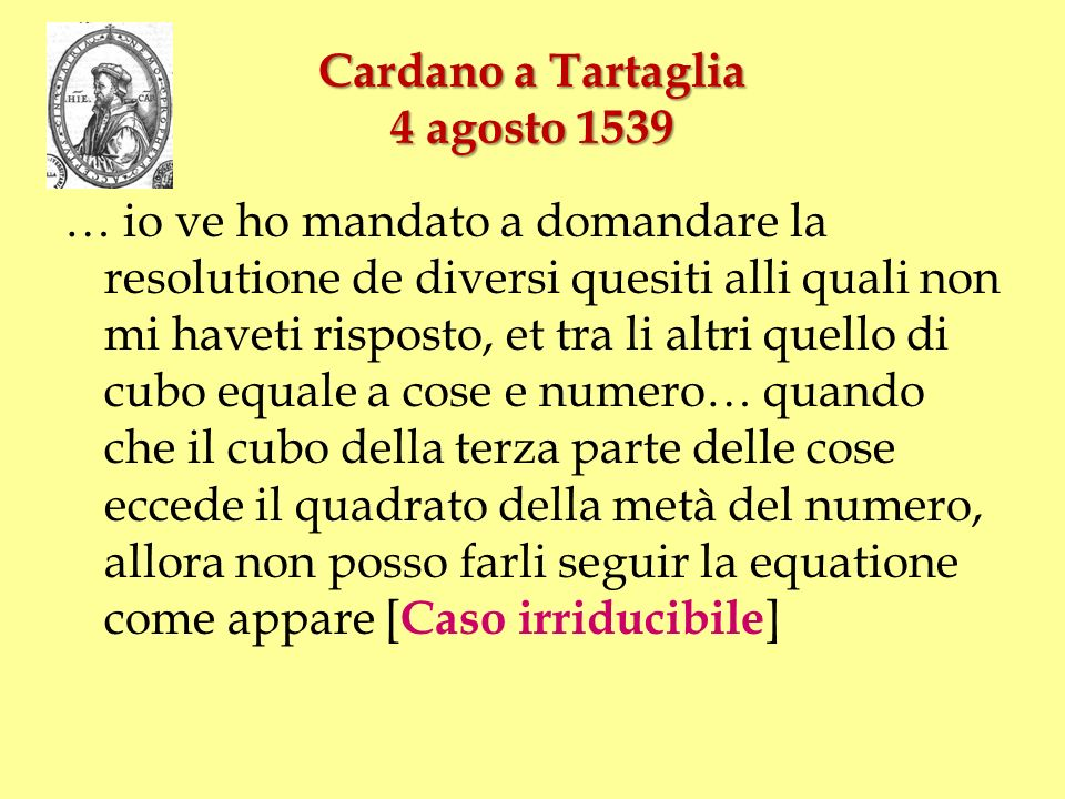 Cardano a Tartaglia 4 agosto 1539