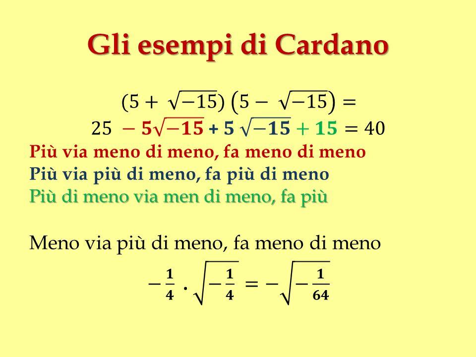 Gli esempi di Cardano (5+ −15 ) 5− −15 = 25 −𝟓 −𝟏𝟓 + 𝟓 −𝟏𝟓 +𝟏𝟓=40