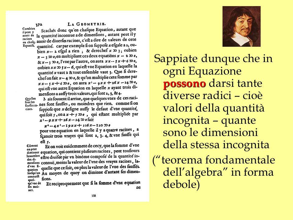 Sappiate dunque che in ogni Equazione possono darsi tante diverse radici – cioè valori della quantità incognita – quante sono le dimensioni della stessa incognita