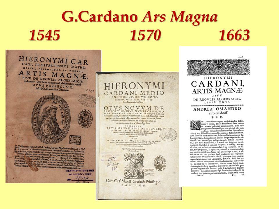 G.Cardano Ars Magna 1545 1570 1663