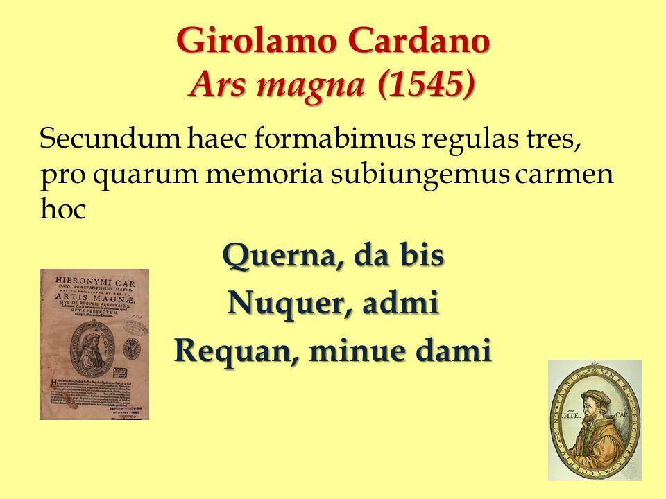 Girolamo Cardano Ars magna (1545)