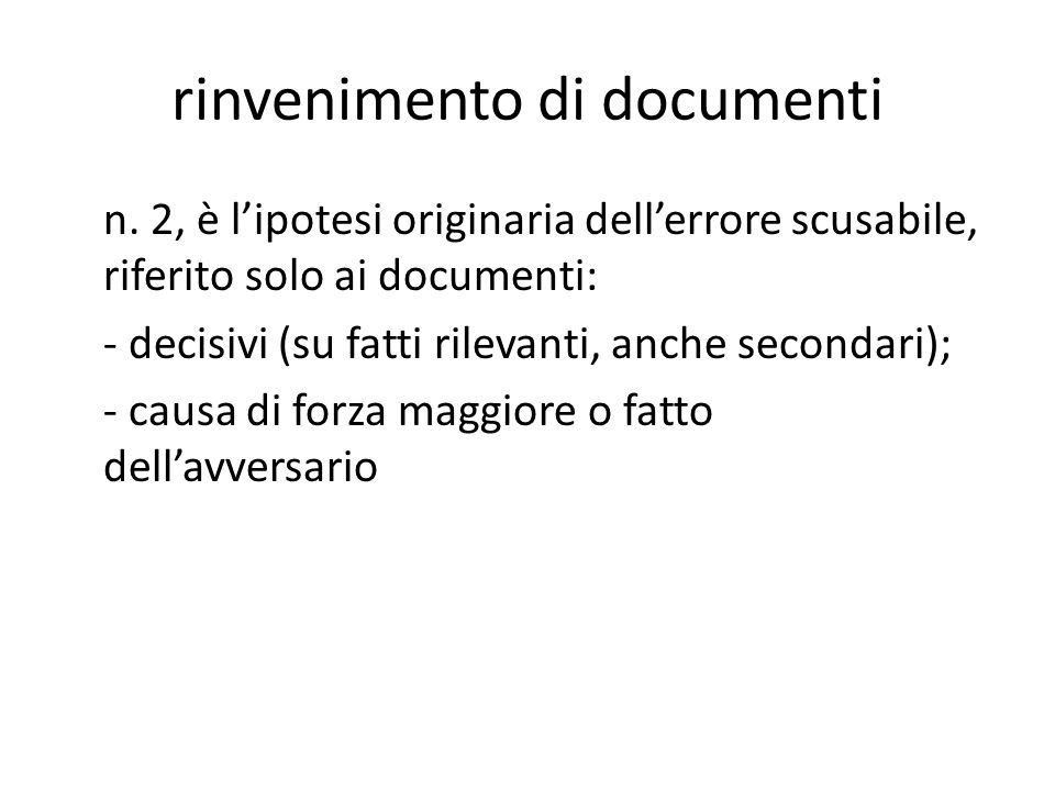 rinvenimento di documenti