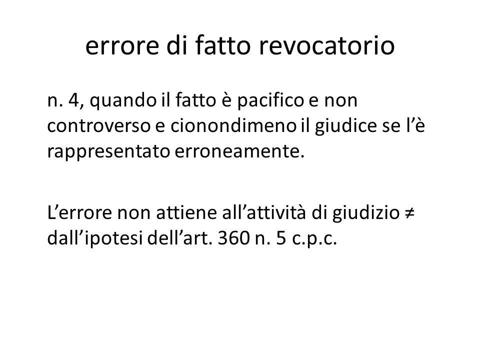 errore di fatto revocatorio