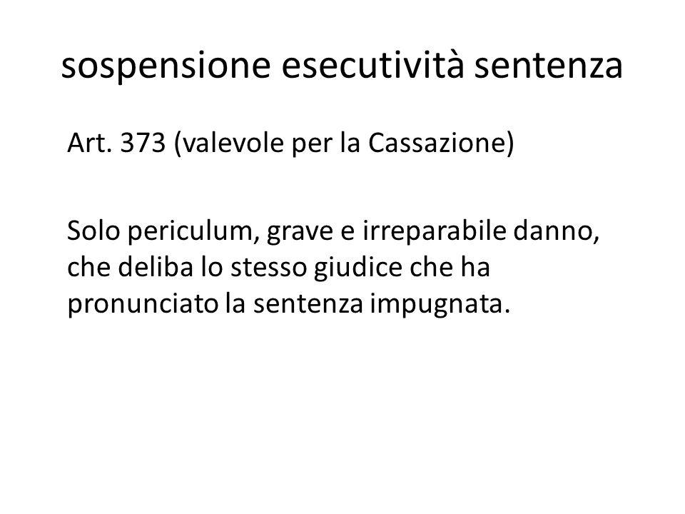 sospensione esecutività sentenza