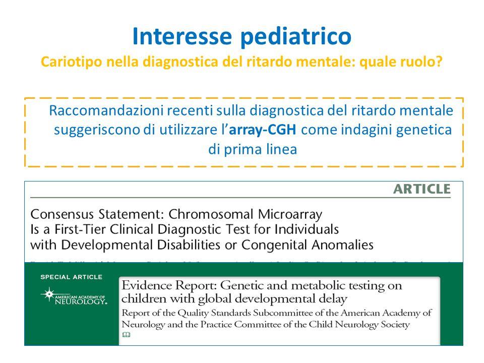 Interesse pediatrico Cariotipo nella diagnostica del ritardo mentale: quale ruolo