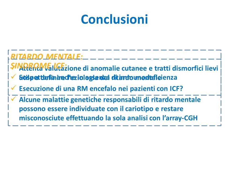 Conclusioni RITARDO MENTALE: SINDROME ICF: