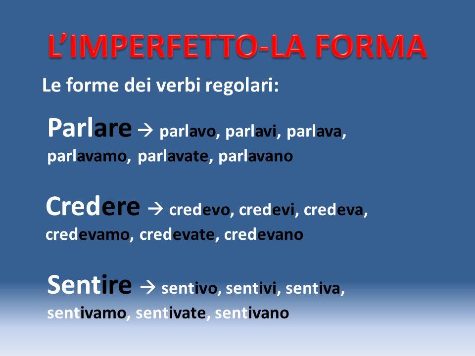 L'IMPERFETTO-LA FORMA
