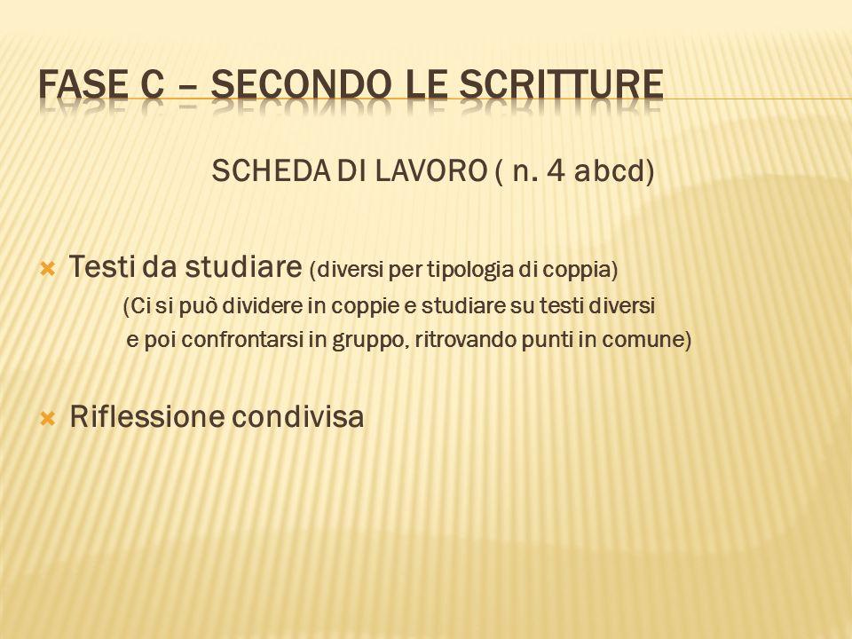 FASE C – SECONDO LE SCRITTURE