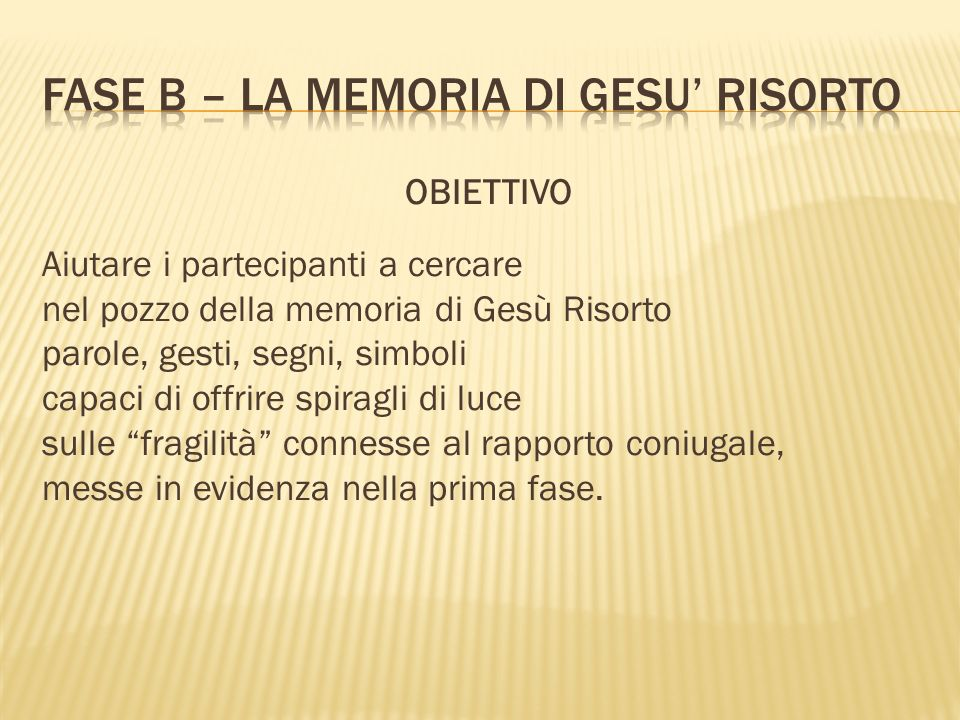 FASE b – LA MEMORIA DI GESU' RISORTO