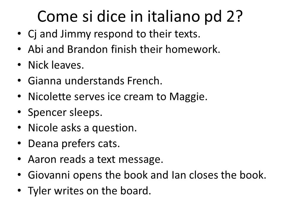 Come si dice in italiano pd 2