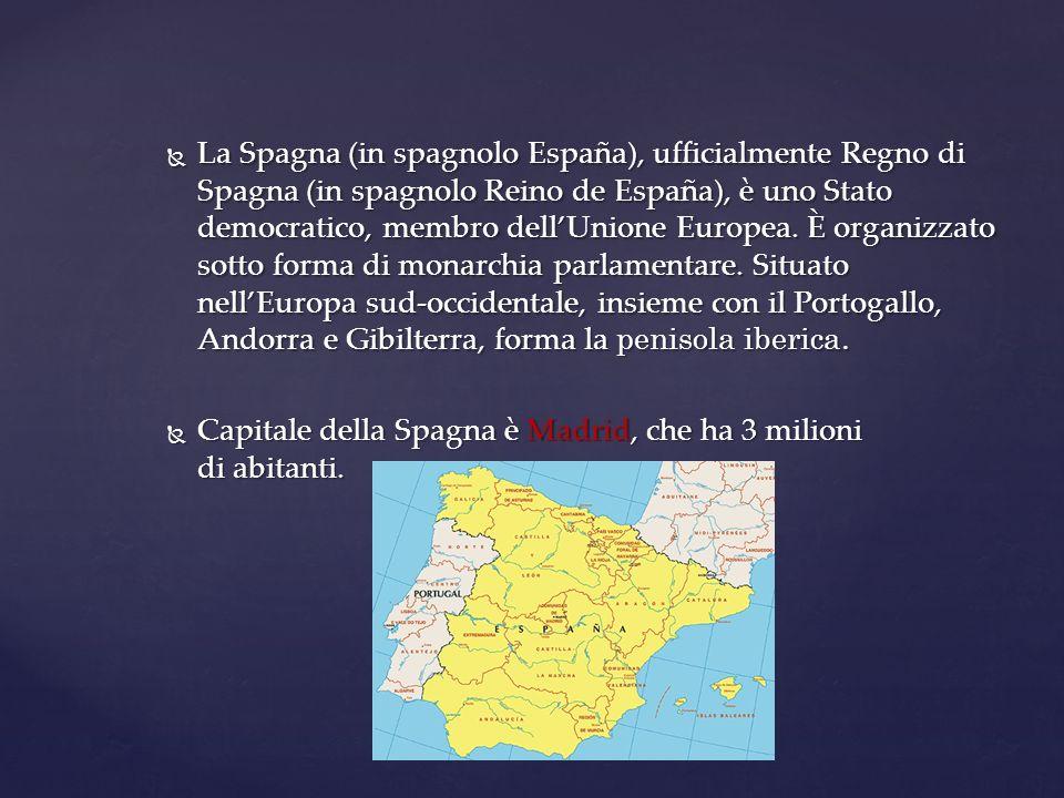 La Spagna (in spagnolo España), ufficialmente Regno di Spagna (in spagnolo Reino de España), è uno Stato democratico, membro dell'Unione Europea. È organizzato sotto forma di monarchia parlamentare. Situato nell'Europa sud-occidentale, insieme con il Portogallo, Andorra e Gibilterra, forma la penisola iberica.