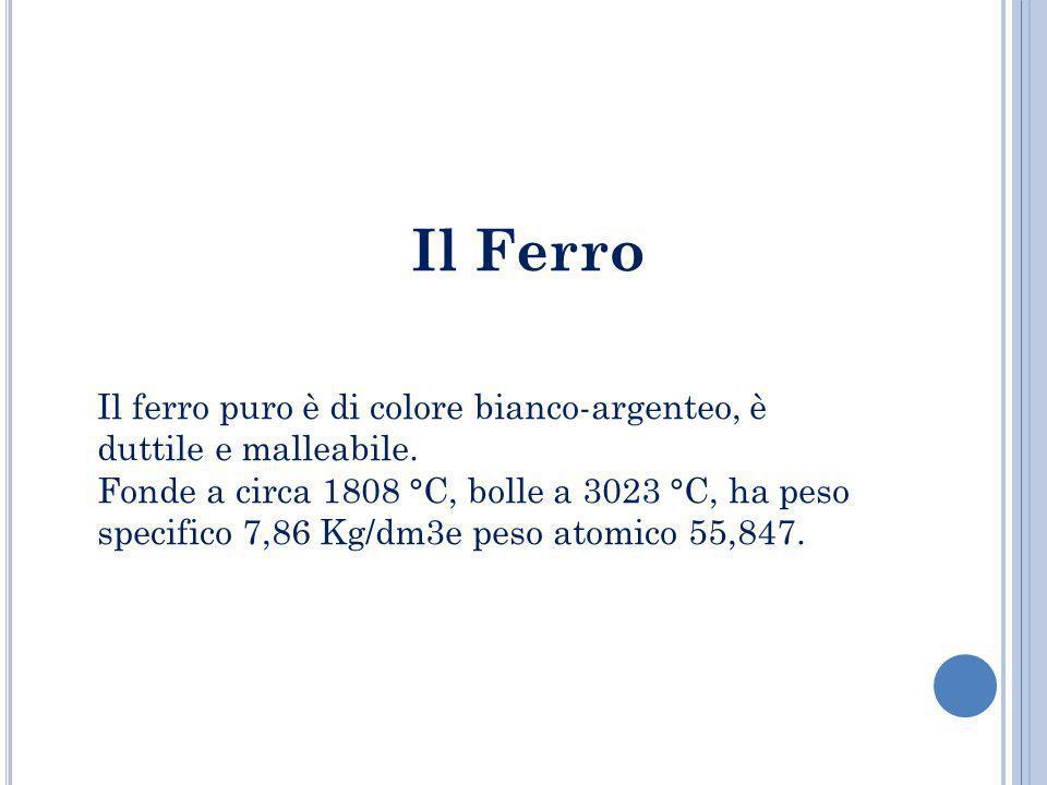 Il Ferro Il ferro puro è di colore bianco-argenteo, è