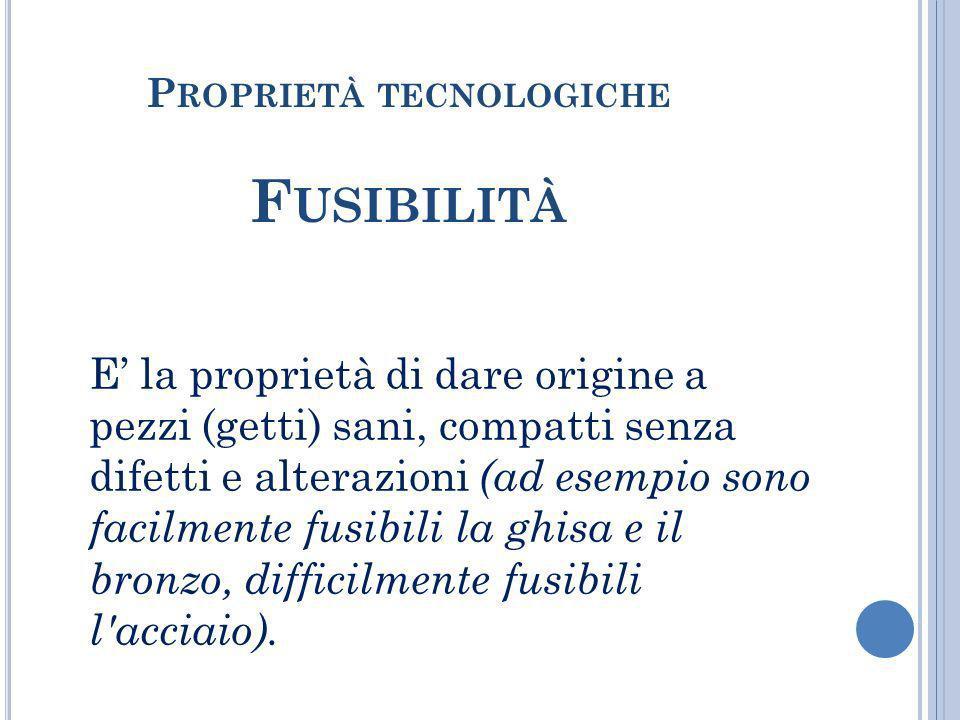 Proprietà tecnologiche Fusibilità