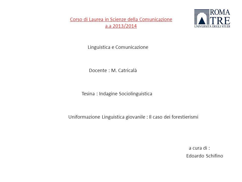 Corso di Laurea in Scienze della Comunicazione a.a 2013/2014