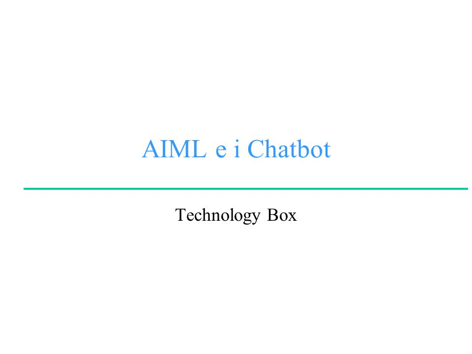 AIML e i Chatbot Technology Box