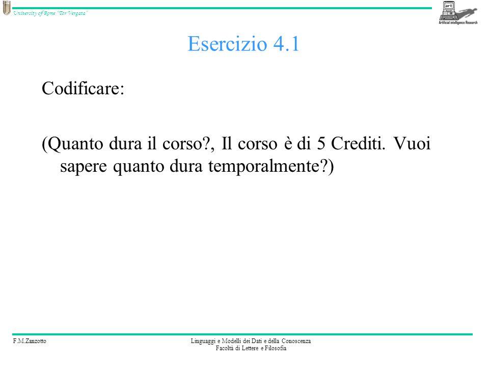 Esercizio 4.1 Codificare: (Quanto dura il corso , Il corso è di 5 Crediti.