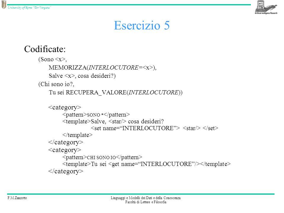 Esercizio 5 Codificate: <category> </category>