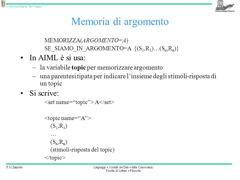 Memoria di argomento In AIML è si usa: Si scrive: