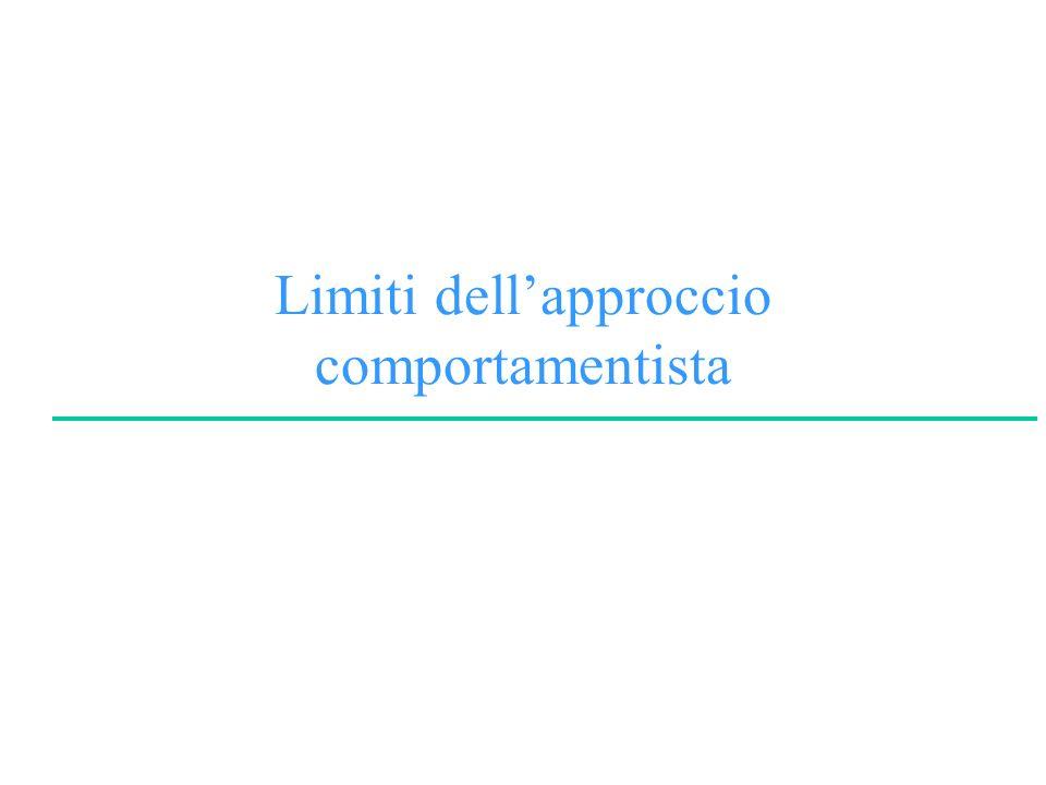 Limiti dell'approccio comportamentista