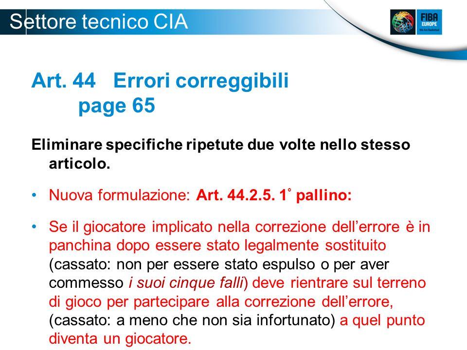 Art. 44 Errori correggibili page 65