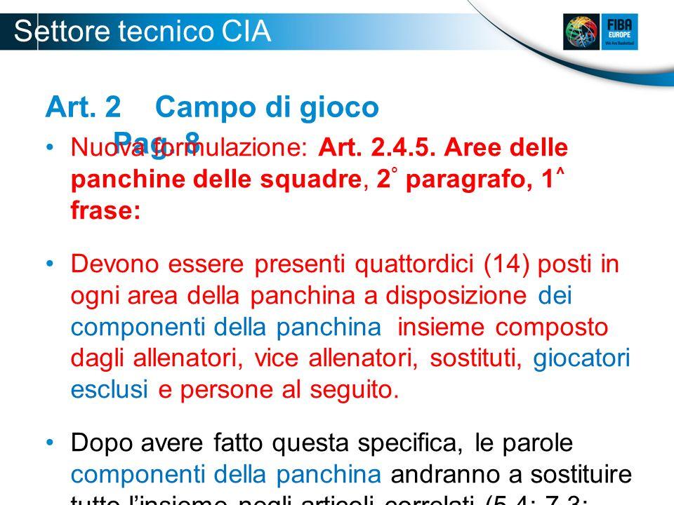 Settore tecnico CIA 2012-2013 Art. 2 Campo di gioco Pag. 8