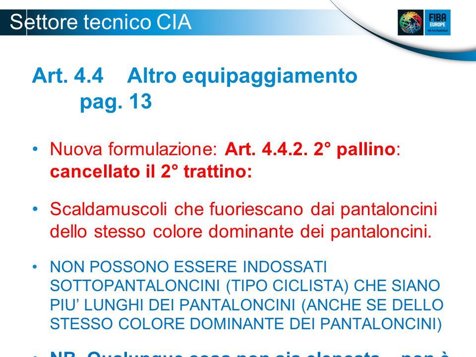 Art. 4.4 Altro equipaggiamento pag. 13