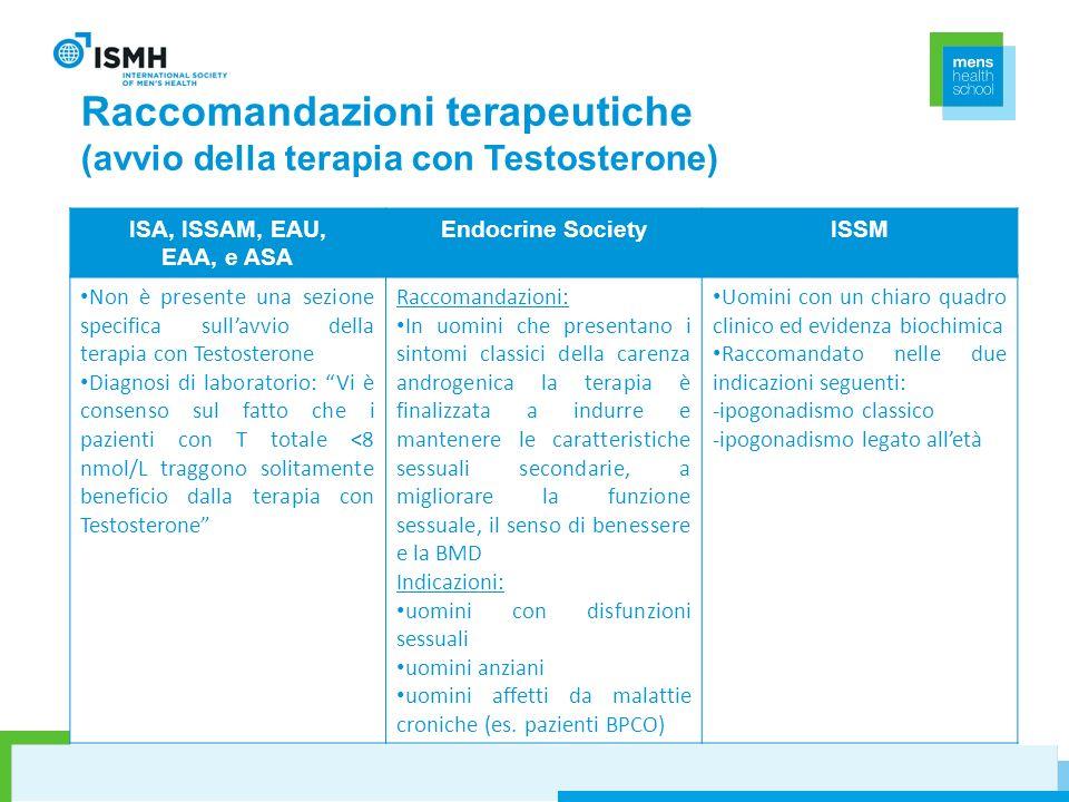 Raccomandazioni terapeutiche (avvio della terapia con Testosterone)