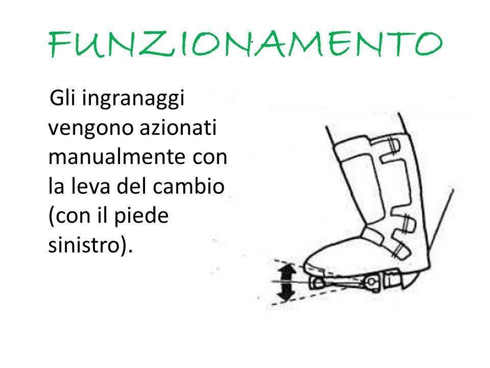 FUNZIONAMENTO Gli ingranaggi vengono azionati manualmente con la leva del cambio (con il piede sinistro).