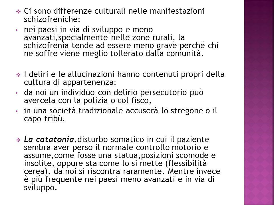 Ci sono differenze culturali nelle manifestazioni schizofreniche: