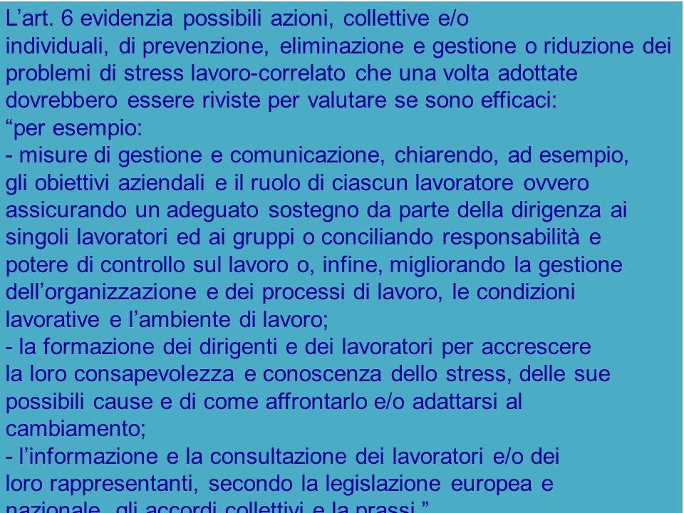 L'art. 6 evidenzia possibili azioni, collettive e/o