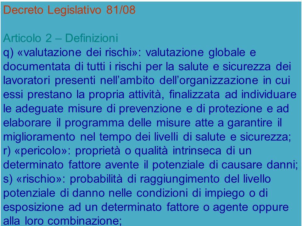 Decreto Legislativo 81/08 Articolo 2 – Definizioni.