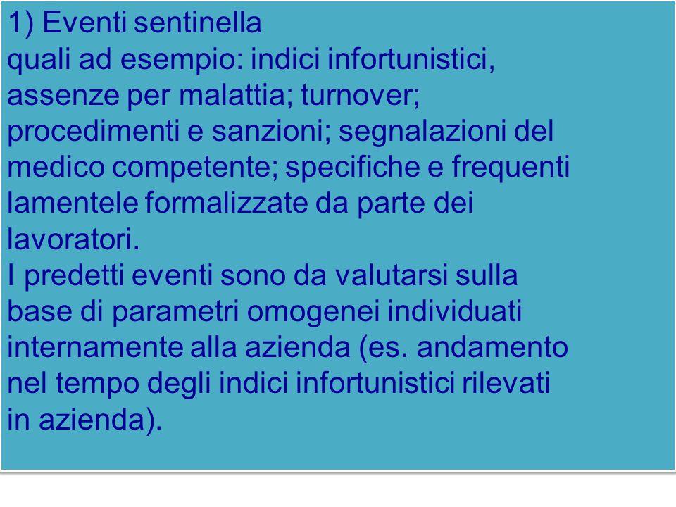 1) Eventi sentinella quali ad esempio: indici infortunistici, assenze per malattia; turnover; procedimenti e sanzioni; segnalazioni del.