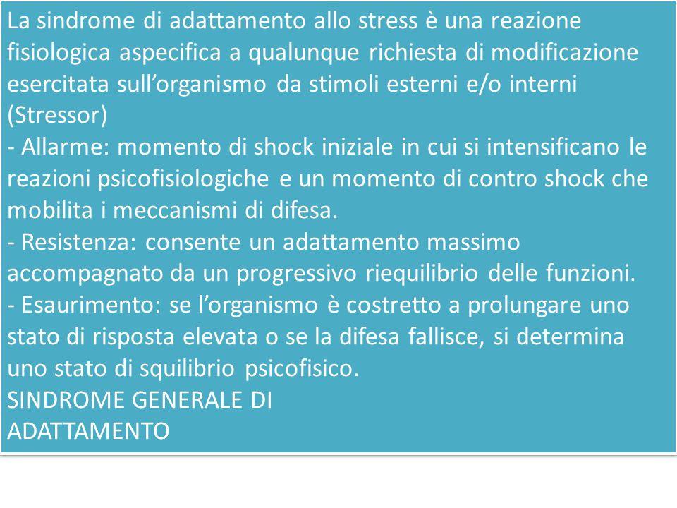 La sindrome di adattamento allo stress è una reazione fisiologica aspecifica a qualunque richiesta di modificazione esercitata sull'organismo da stimoli esterni e/o interni (Stressor)