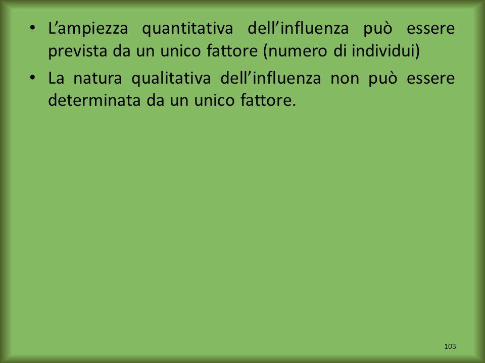L'ampiezza quantitativa dell'influenza può essere prevista da un unico fattore (numero di individui)
