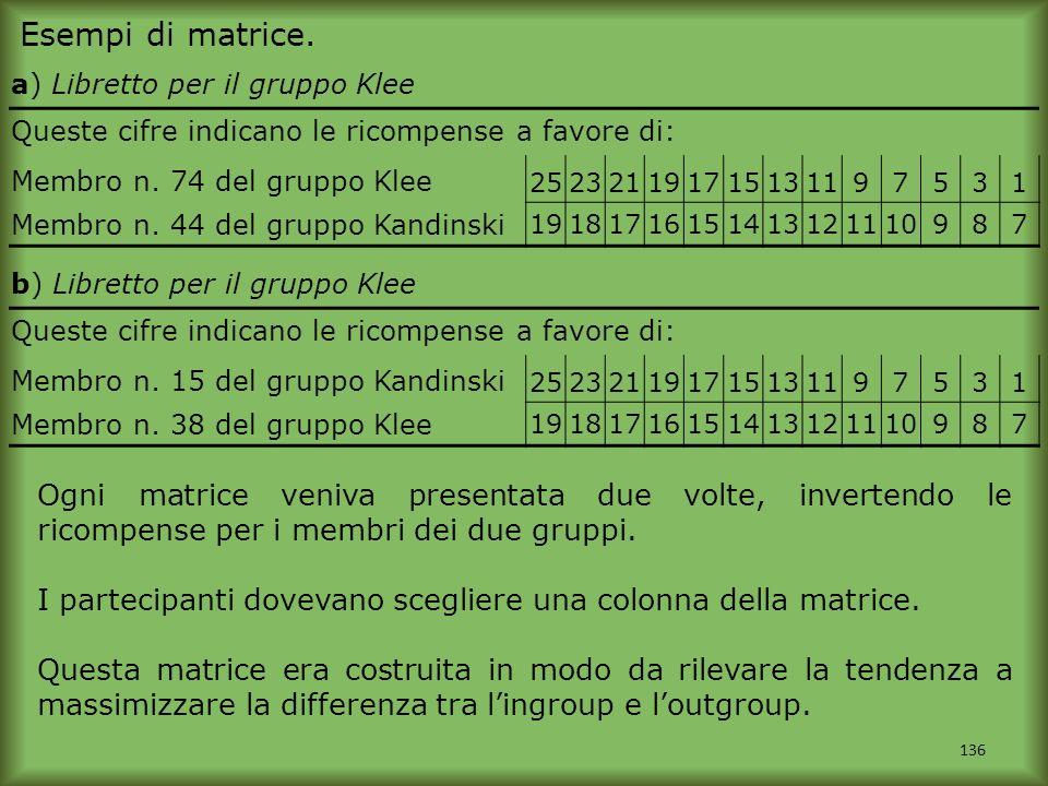 Esempi di matrice. a) Libretto per il gruppo Klee. Queste cifre indicano le ricompense a favore di: