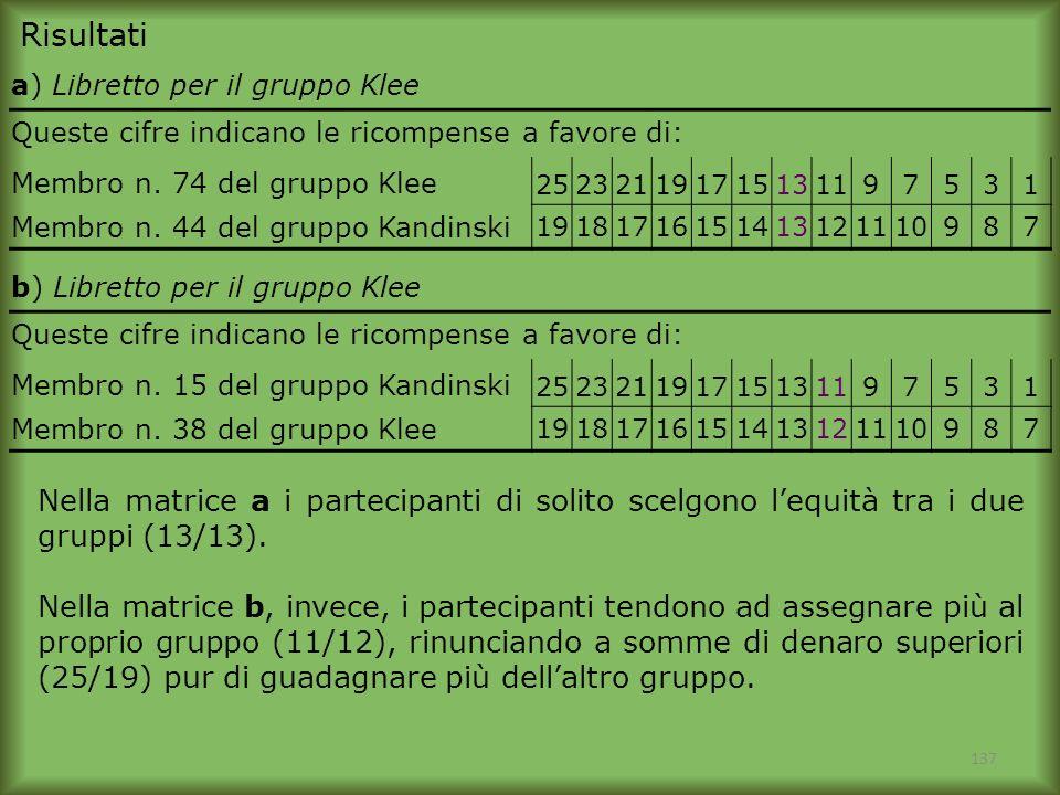 Risultati a) Libretto per il gruppo Klee. Queste cifre indicano le ricompense a favore di: Membro n. 74 del gruppo Klee.