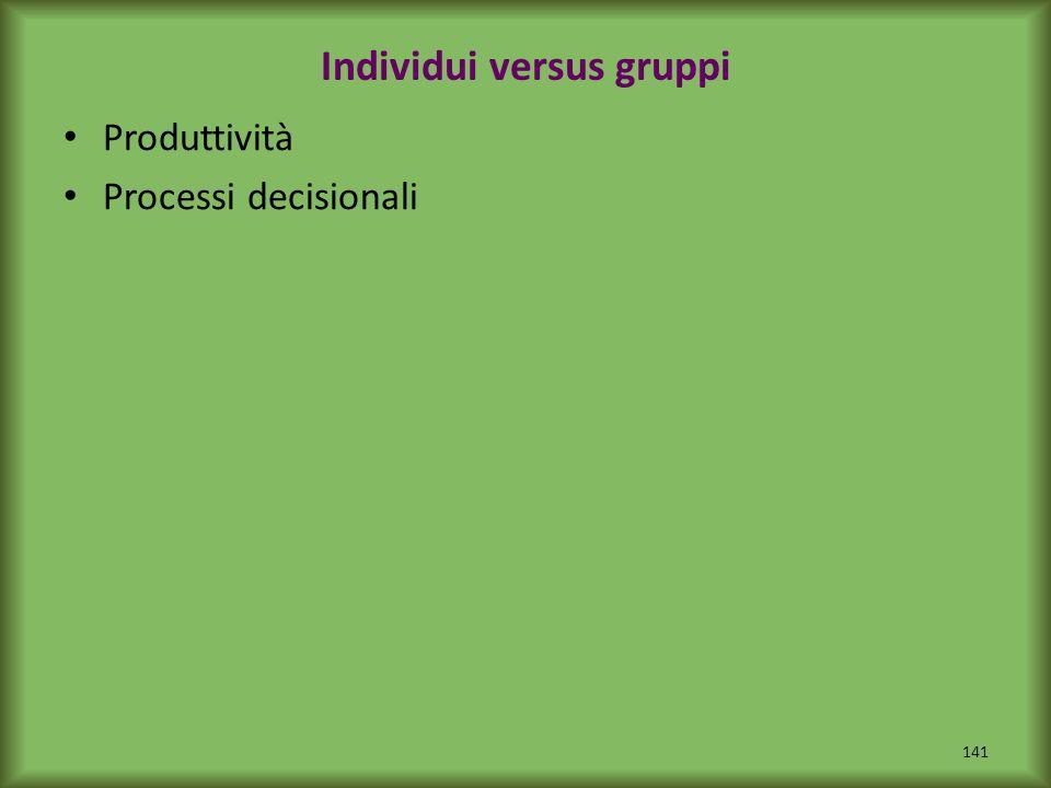 Individui versus gruppi