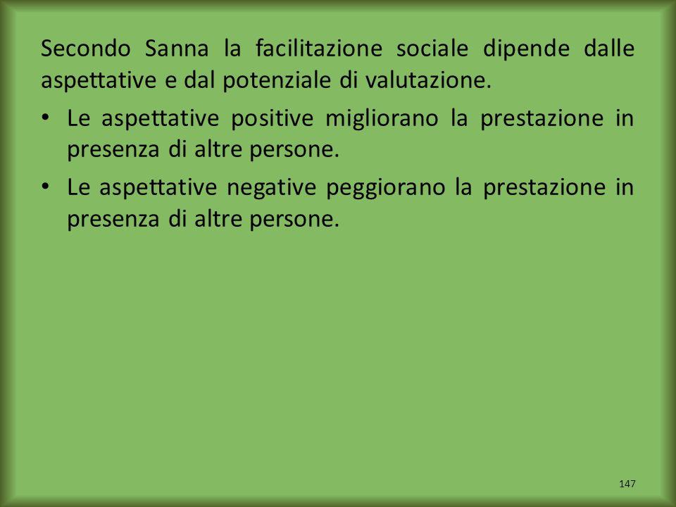 Secondo Sanna la facilitazione sociale dipende dalle aspettative e dal potenziale di valutazione.