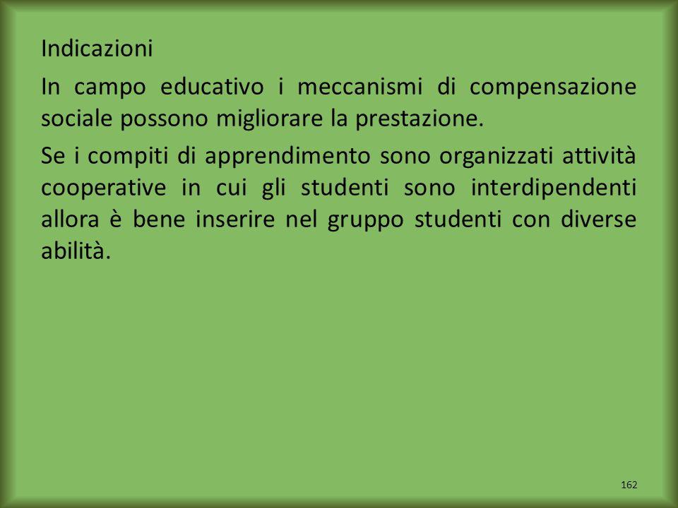 Indicazioni In campo educativo i meccanismi di compensazione sociale possono migliorare la prestazione.