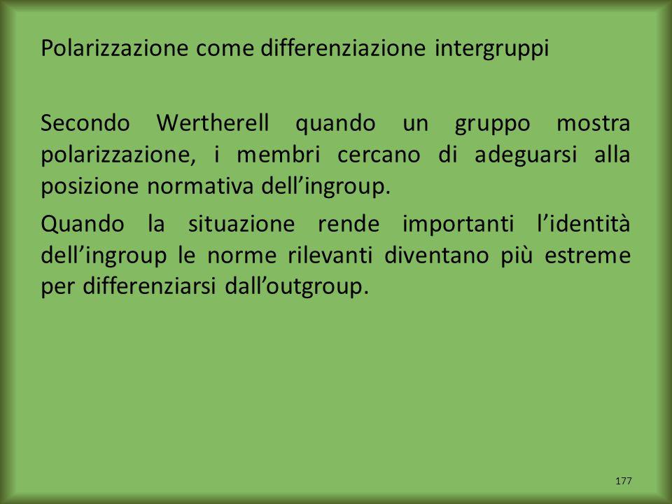 Polarizzazione come differenziazione intergruppi Secondo Wertherell quando un gruppo mostra polarizzazione, i membri cercano di adeguarsi alla posizione normativa dell'ingroup.